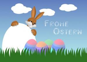 Osterhase mit bunten Osterei im Gras! Eins muss noch bemalt werden! Also ran ans Ei!!!